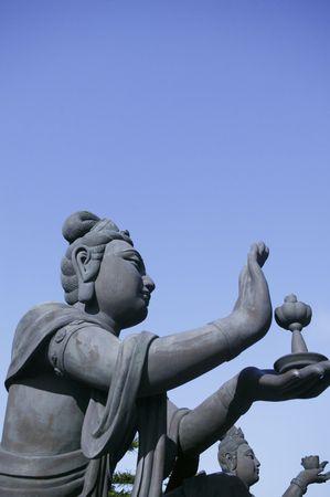 lantau: A bronze statue of fairy on Lantau Island in Hong Kong.