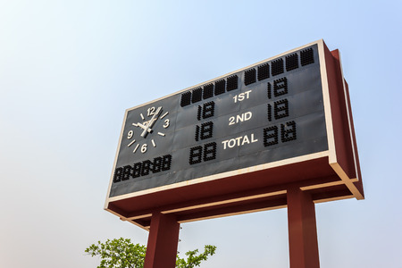 football scoreboard with blue sky in summer