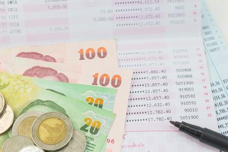passbook: Thai money bath and Saving Account Passbook