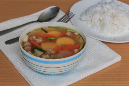 mild: Mild soup with vegetables  tofu and pork  thai food