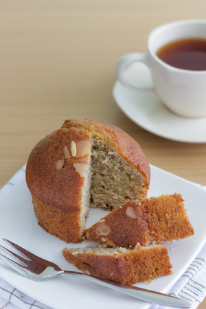 two piece of banana breads photo