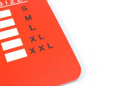 Grootte label geïsoleerd op een witte achtergrond