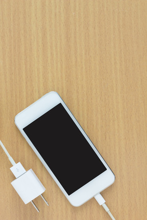smartphone connect charger and free space for text
