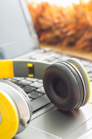 digital music: Headphone and Laptop. Enjoys digital music
