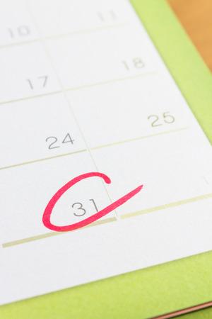 Circle mark on  calendar at 31 photo