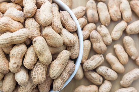 arachis: close up white bowl full of peanuts