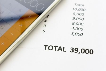 Close up of  document total price Standard-Bild