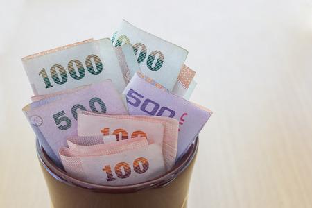 A lot of Thai Geld im Glas Standard-Bild - 40587279