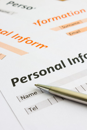 personal information: close up Personal information form Stock Photo