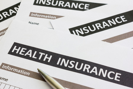 健康保険] フォームのクローズ アップ 写真素材