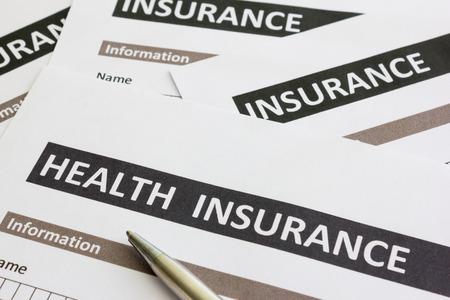 salud publica: cerca de la forma de seguro de salud Foto de archivo
