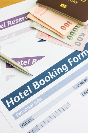 hotel booking: close up hotel booking form