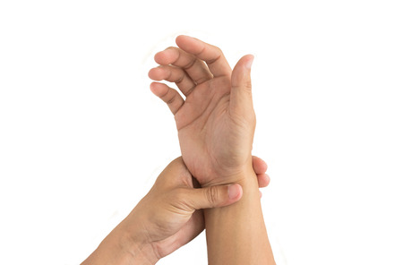 strength therapy: man hand injury Stock Photo