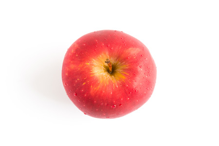 red white: top view red apple on white background