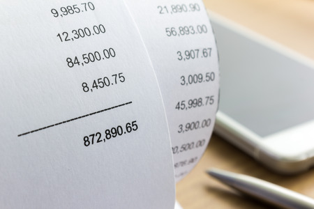 Close up of receipt paper. Grocery shopping list Stock Photo