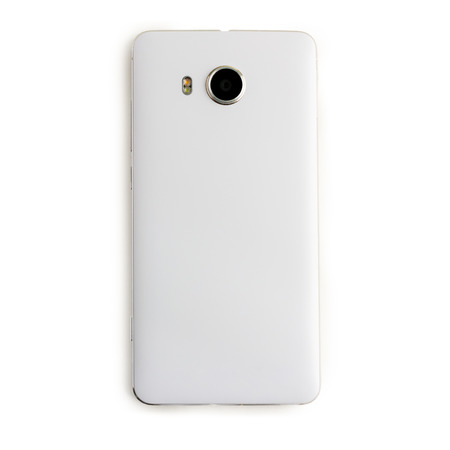 back screen: back view of white smart phone on white background