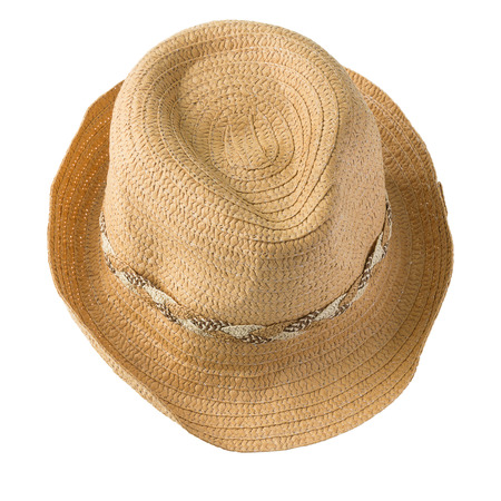 stetson: top view of straw hat isolated on white background