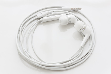 earphone: top view of white earphone