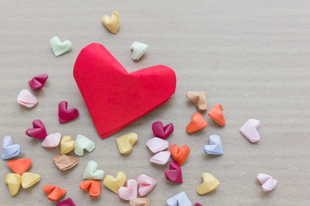 colorful paper hearts in top view for background Stock Photo