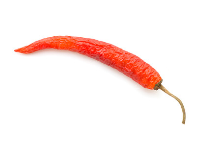 red chili pepper on white background in top view