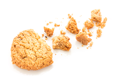 morsels: homemade cookies on white background in top view