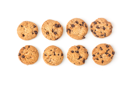 morsels: homemade chocolate chips cookies on white background in top view
