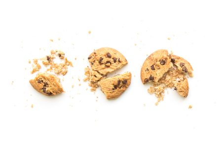 homemade chocolate chip cookies on white background in top view
