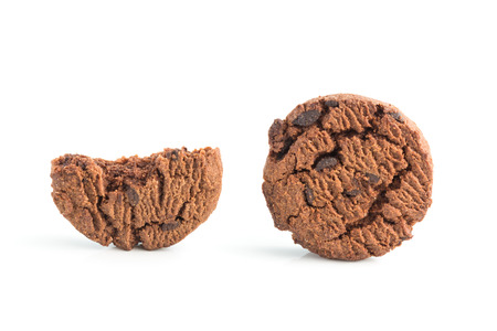 Homemade chocolate chips dark cookies on white background Standard-Bild - 106940033