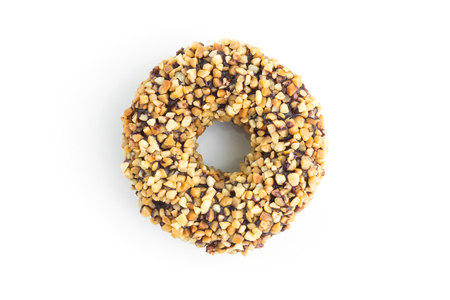 chocolate doughnuts with nuts on white Standard-Bild - 112689327
