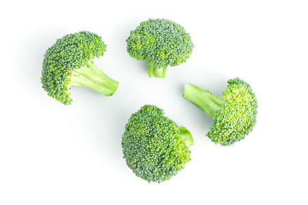 fresh broccoli on white in top view Standard-Bild - 112689551