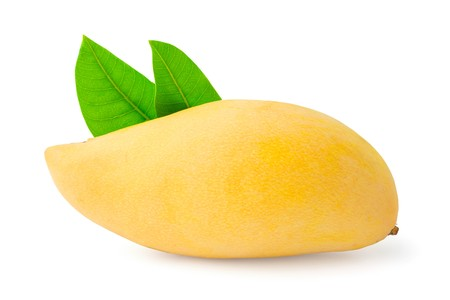 mango with leaves isolated on white