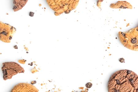 homemade chocolate chips cookies on white background in top view