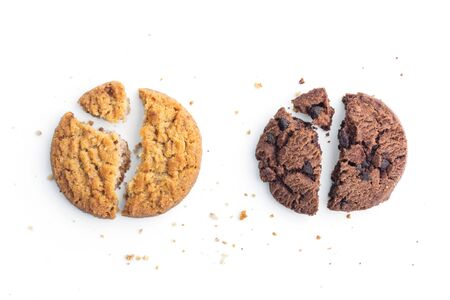 homemade chocolate chips cookies and butter cookie on white background in top view Stock Photo