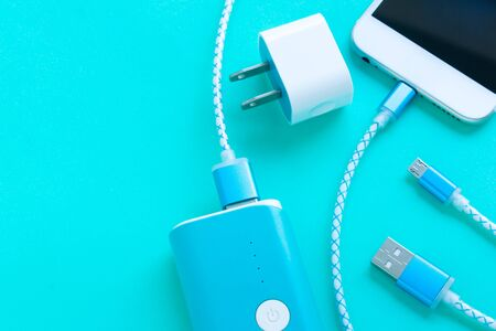 smartphone and USB cable charger with copy space Zdjęcie Seryjne