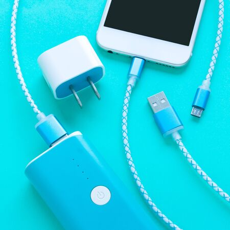 smartphone and USB cable charger