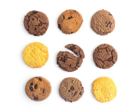 homemade cookies on white background