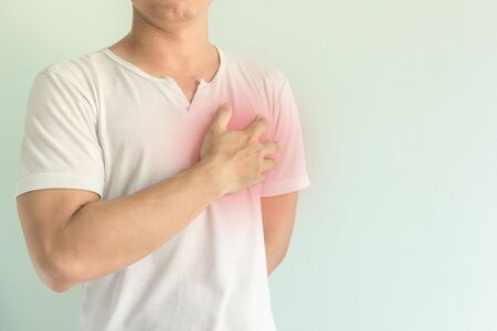 asian male having chest pain 免版税图像