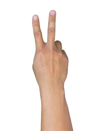 asian hand showing V sign on white background 免版税图像