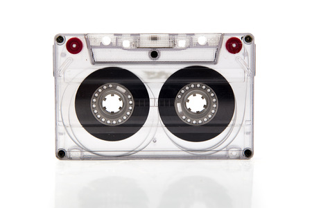 Cassette tape on white background. photo