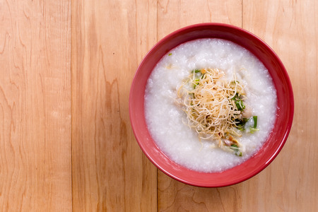 chinese porridge rice gruel in bowl