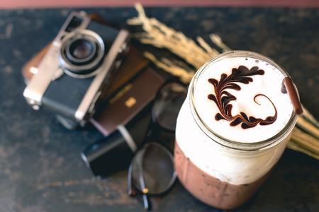 Coffee with Passport and film cameras , vintage tones. Stok Fotoğraf