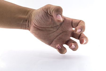 pinch: It is Pinch hand on white. Stock Photo