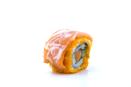 Sushi rolls on a white background.