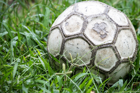 Old soccer ball in the grass on a rainy day.
