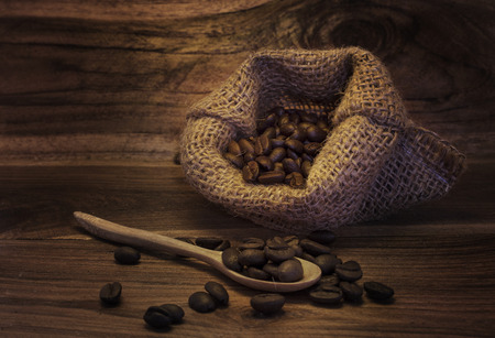 Beans on a wooden table in the morning.