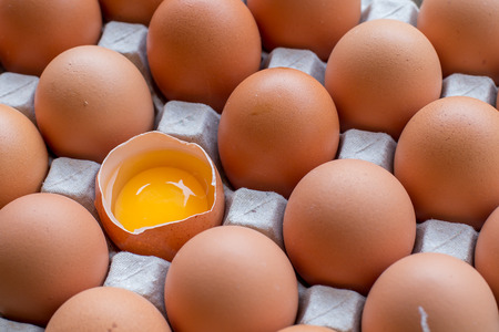 Eggs broken in the package Stok Fotoğraf