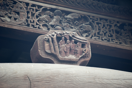 wood carving: Close up to an ancient wood carving Stock Photo