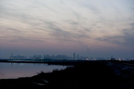 lakefront: Hefei lakeside sunset view  Stock Photo
