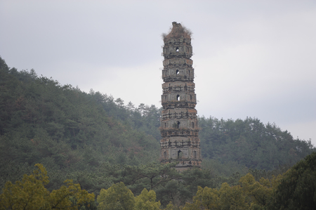 county side: Ancient pagoda at the hill side