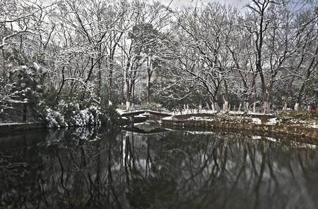 beck: Anhui Hefei Xiaoyaojin Park Snow scenery Stock Photo